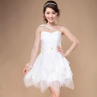 New Designer Lace Pearl Beading Bridesmaid Dresses One Shoulder Slim Princess Party Dress