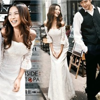 2014 latest seventh sleeved Princess Bridal flat shoulder fishtail trailing wedding dress lace wedding gown on sale