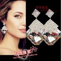 Fashion sparkling black and white big crystal geometric figure earrings stud earring