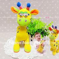 kid hand bells hanging giraffe baby stuffed plush rattle  toys height 25cm