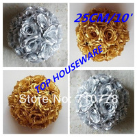 10'/25CM  GOLD/SILVER artificial rose flower ball wedding flower ball kissing ball wedding supermarkdet deoration hangings
