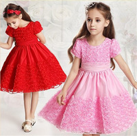1 set Retail Free shipping! High quality girl pure color dress. Princess the skirt of summer. girl print dress, girl party dress