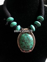 TNL226  Tibetan handmade Green Turquoise Big Pendant beaded necklace,Nepal Indian vintage ethnic jewelry, wholesle Tibet jewel