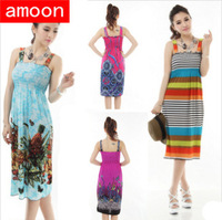 Amoon / Women Spring Summer Autumn Casual Print Ice Cotton Dot Flower Plaid Dress/Free Shipping/ Plus Size/ 21 Colors/Sleeveless