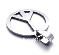 Free Shipping Wholesale jewelry High Polishing Men's Stainless Steel Silver Necklace Pendant