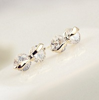 free shipping high quality sweety zircon inset gold plated bowknot stud earrings