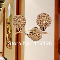Free shipping Brief modern crystal double slider gold wall lamp ofhead mirror stair wall frha b22