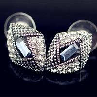 Fashion personality fashion rhombus gun black crystal stud earring female vintage elegant earrings accessories