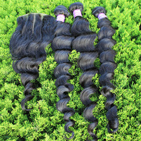 4pcs lot Brazilian virgin loose wave queen hair products 3 part way lace closure 4x4 with 3 hair bundles 100g Free shipping
