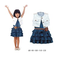 Free shipping wholesale children's clothing female child vest navy style vintage denim one-piece dress outerwear belt 5sets