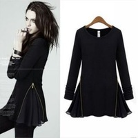 Spring Autumn European American Slim Knitted Zipper Fleece Long Sleeve Chiffon Patch Dress Women All-match Basic Dress