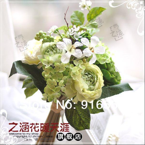 Buquê de casamento flor de seda buquê de noiva com bagas artificiais(China (Mainland))