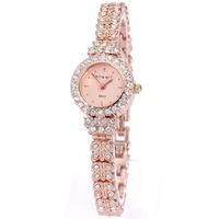 King Girl royal rose gold bracelet watch women top brand unique full crystal diamonds for ladies quartz round free shipping