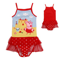 Costume Girl Baby One Piece Swimsuit 2014 Peppa Pig Girls Swimwear Sale Children's Bathing Suits Swimsuit Bikini Kids Baby Dress