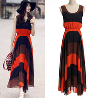 NEW 2014 Plus size Summer Fashion Striped Design Beach Dress for Women High Waisted Halter Ladies Casual Long Maxi Dresses