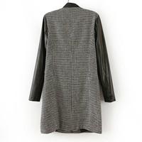 WOMENS pu leather sleeve WOOL Jacket COAT TRENCH outwear overcoat Windbreaker