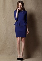 2014 new arrival fashion women's ruffle hem elegant slim waist one-piece dress