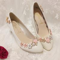 Fashion handmade wedding shoes bride crystal wedding shoes flower pearl rhinestone white bridal shoes bridesmaid pumps shoes