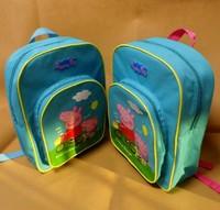 Peppa pig children bag preschool students backpack pig lovely blue schoolbag Free Shipping Retail 1PCS