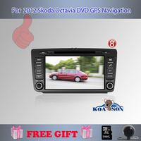 Koason For 8'' 2012  2013 skoda octavia Doble DIN Auto DVD Player+GPS Navigation+FM/AM Raio+BT+AUX+Steering Wheel Control