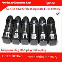 free shipping 8PCS3.7V 18650 14500  18350 16430 Battery Charger For Rechargeable batteries,100-240V/50-60HZ Input