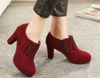 2014 new design women's pumps office shoes round toe thick heels rhinestone ladies pumps womens high heel pumps night club shoes