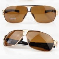 New 2014 Men Aluminium Magnesium Alloy SunGlasses Men's Vintage Polarized Driving Fishing Cycling Sport Sunglasses- Gold  Frame