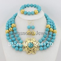 Amazing New African Wedding Beads Jewelry Set Nigerian Wedding Turquoise Beads Jewelry Set Free Shipping TN026