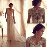 Elegant See Through Beading Corset Chiffon anna campbell Wedding Dress Cap Sleeve V Neck Bridal Gowns vestidos de novia 2014