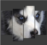 4 Piece Wall Art Painting On Canvas Black And White Husky Puppy Dog Cascade The For Home Decoration Oil painting