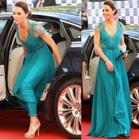 2014 Newest kate middleton celebrity pleated blue V neck Lace Sash beading floor length dresses evening Party dress plus size XL
