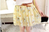 2014 new women's wild print chiffon pleated skirts 3 color black - pink - yellow , Get Belt , Free shipping
