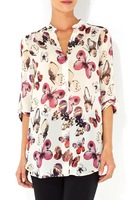 2014 spring and summer fashion butterfly print long-sleeve shirt decoration blouses  shirt women #203