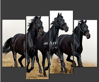 4 Piece Wall Art Painting On Canvas Running Balck Horses Cascade The  For Home Modern Decoration Oil painting