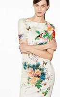 New women European style brand Floral bird vintage retro butterfly Print slim evening Dresses designer dress free shipping B015