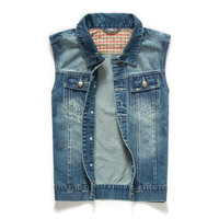2014 New  Men's Spring and Autumn Denim Vest Man Waistcoat  Sleeveless Denim Vest For Men