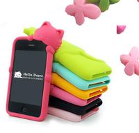 1pcs/lot 3D cute Kiki Cat Smile Hide & Seek Cat Soft Silicone Rubber Back Cover for Samsung Galaxy S 2 II S2 i9100 Attain i777