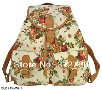 2014 New Arrival Students Backpack Vintage Buckle Detail School Rucksack Flower Print Shoulder Bags 4colors women bags