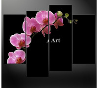 4 Piece Wall Art Painting On Canvas Oil Black White And Orchids Floral For Home Decor