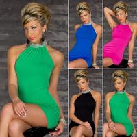 Women Lady Clothing Sexy Clubwear Dresses Bare Shoulder Bodycon Dress Vestidos, Black, Red, Blue, Green, Free Size