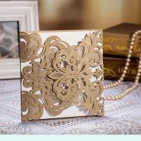 Champagne  Gold Laser-cut Wedding Invitation,Vintage Wedding Cards,Laser Cutting Wedding Cards