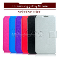 Bands Luxry Retro Silk Folding Flip Walltet PU Leather Cover For Samsung Galaxy S5 I9600,10PCS Free Postage