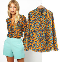 2014 spring women's sweet british style chiffon shirt women long-sleeve shirt blouses