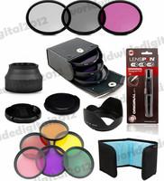 58mm  UV CPL FLD Filter Kit + Lens Cap Hood + 6 Full Color  filter set  for  Canon EOS 1100D 1000D 650D 600D 18-55mm DSLR Lens