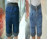 New women/lady striped denim harem shorts pants baggy drop crotch hip hop dance street jeans pants elastic high waist plus size