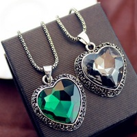free shipping simple version heart shape crystal inset pendant long chain necklace