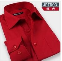 New 2014 Men's shirts Brand long sleeve Pure dress shirt men Easy care Business button down fashion shirt men ,15 colors S-4XL