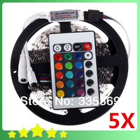 5Sets/lot RGB LED Strip 5M 300leds 3528 SMD + 24 Keys IR Remote Controller Free Battery Flexible LED Light 12V 2A Free Shipping
