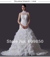 Free Shipping 2014 Latest  High Neck Halter Appliques Beading Real Sample Organza Mermaid Bridal Wedding Dress
