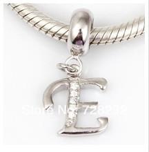 Free shipping 1PCS lot Dangle Alphabet A White CZ Stone Charm Beads Fits Pandora Style Bracelets